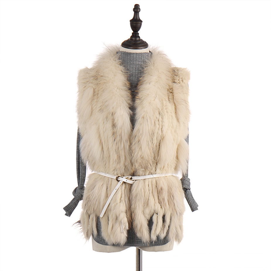 Knitted Rabbit Fur Vest with Raccoon Fur Trim 234 Beige