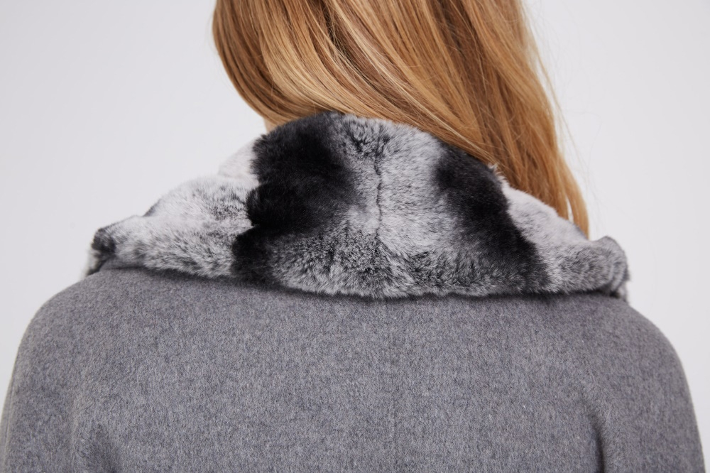 Cashmere Coat with Rex Rabbit Fur Trim 238 Details 1