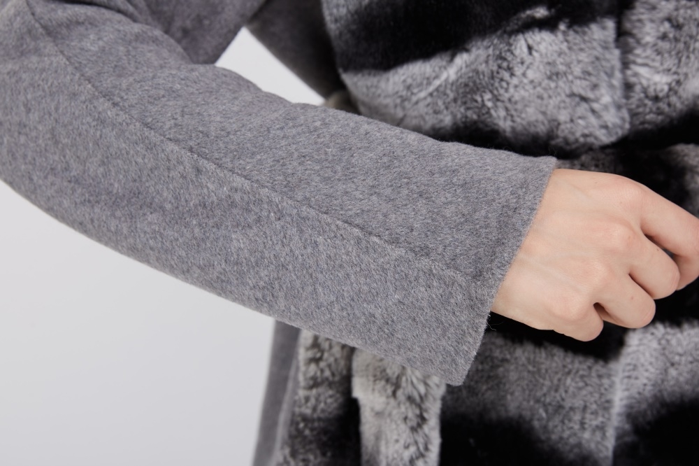 Cashmere Coat with Rex Rabbit Fur Trim 238 Details 4