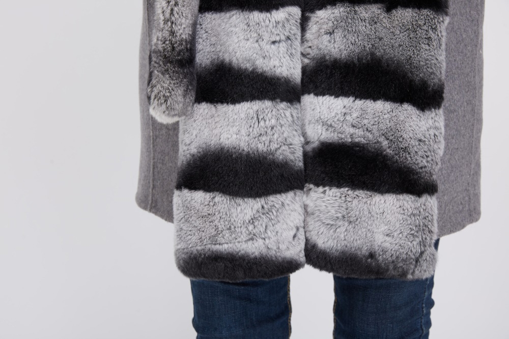 Cashmere Coat with Rex Rabbit Fur Trim 238 Details 5