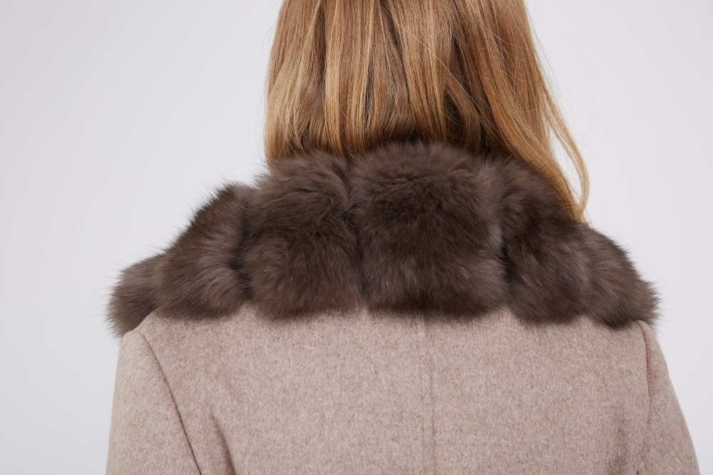 Cashmere Coat with Fox Fur Trimmed Collar 239 Details 2