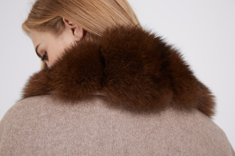 Cashmere Cape with Fox Fur Trim 241 Details 2