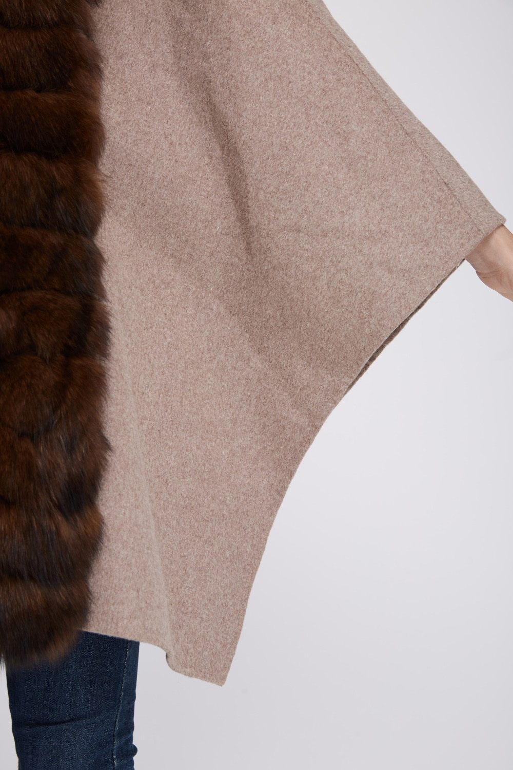 Cashmere Cape with Fox Fur Trim 241 Details 3