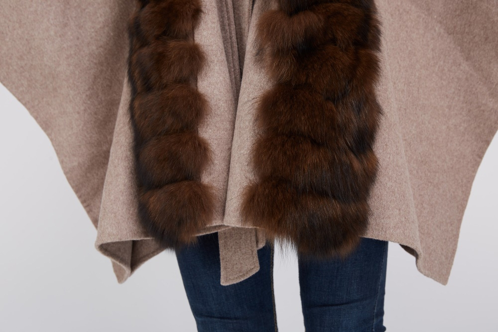 Cashmere Cape with Fox Fur Trim 241 Details 4