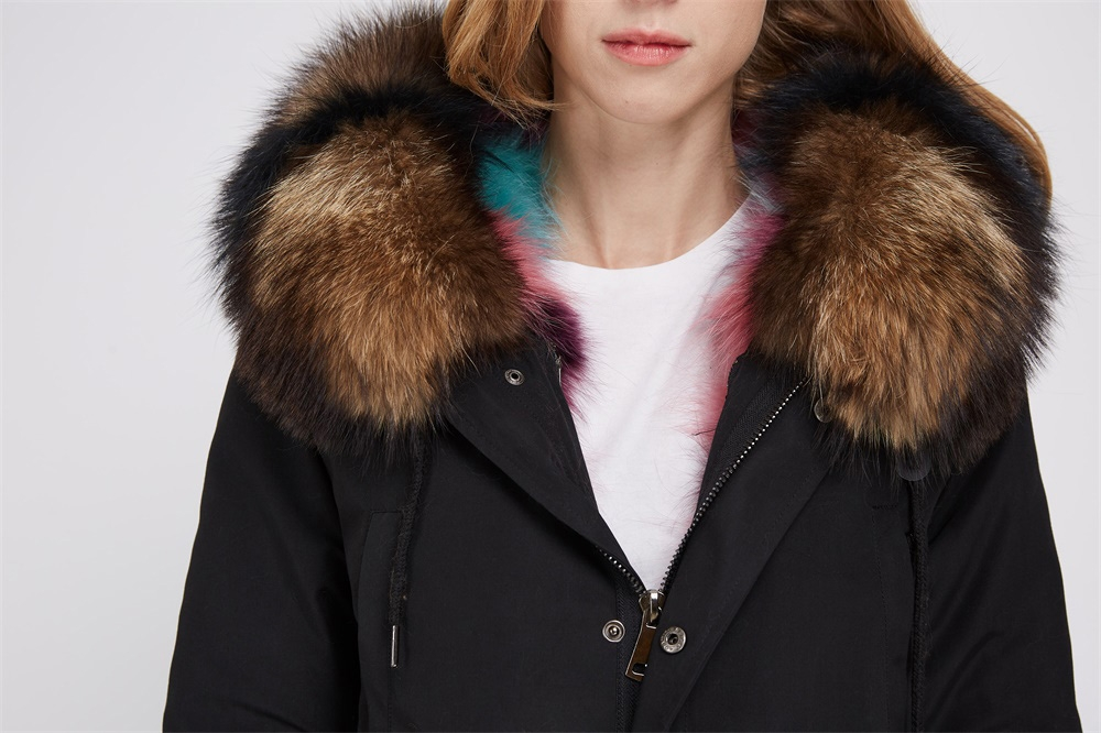 Raccoon Fur Trimmed Hooded Parka with Detachable Fox Fur Liner 242 Details 1