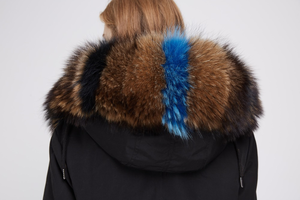 Raccoon Fur Trimmed Hooded Parka with Detachable Fox Fur Liner 242 Details 2