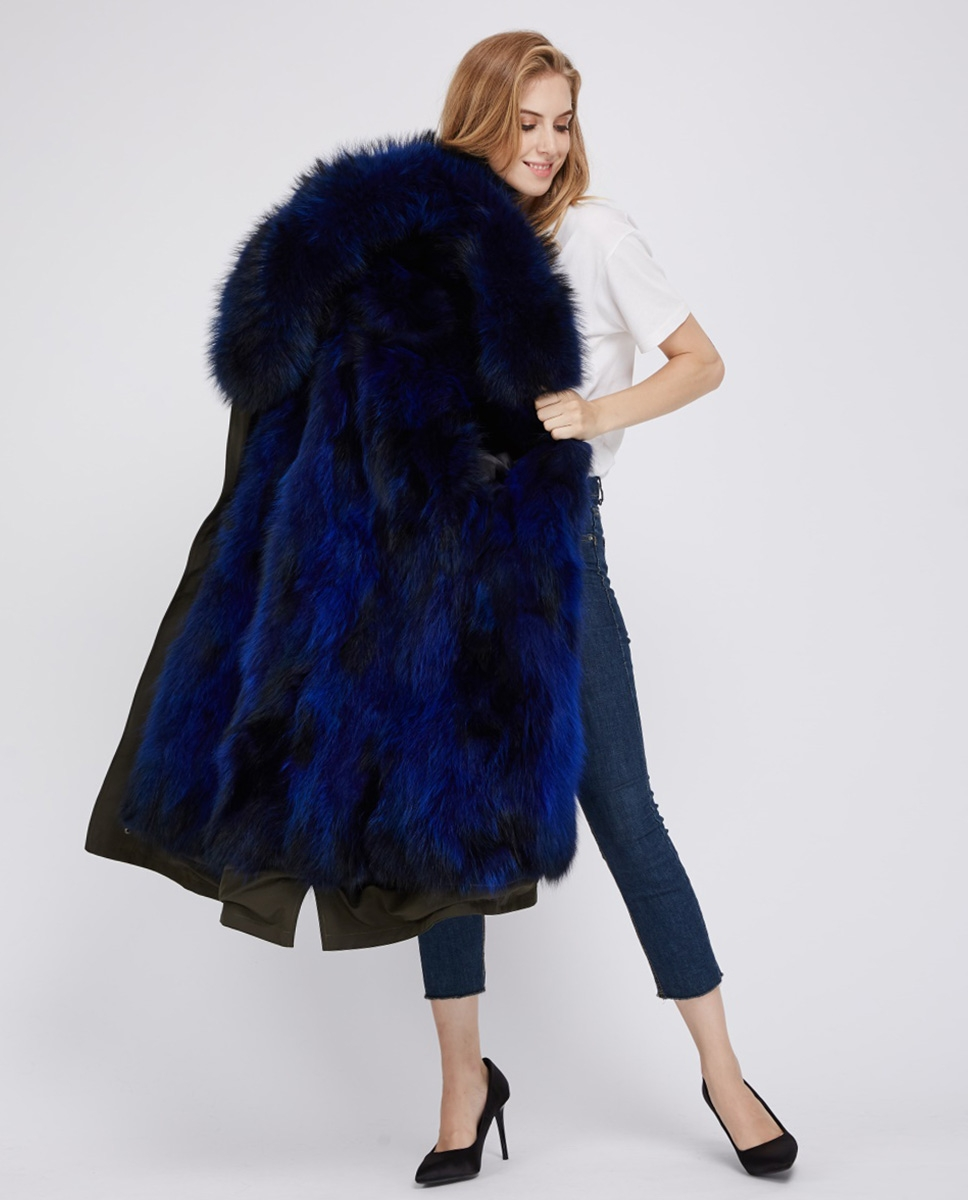 Raccoon Fur Trimmed Hooded Parka with Detachable Fox Fur Liner 242 blue