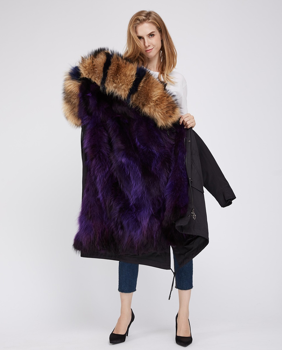 Raccoon Fur Trimmed Hooded Parka with Detachable Fox Fur Liner 242 purple