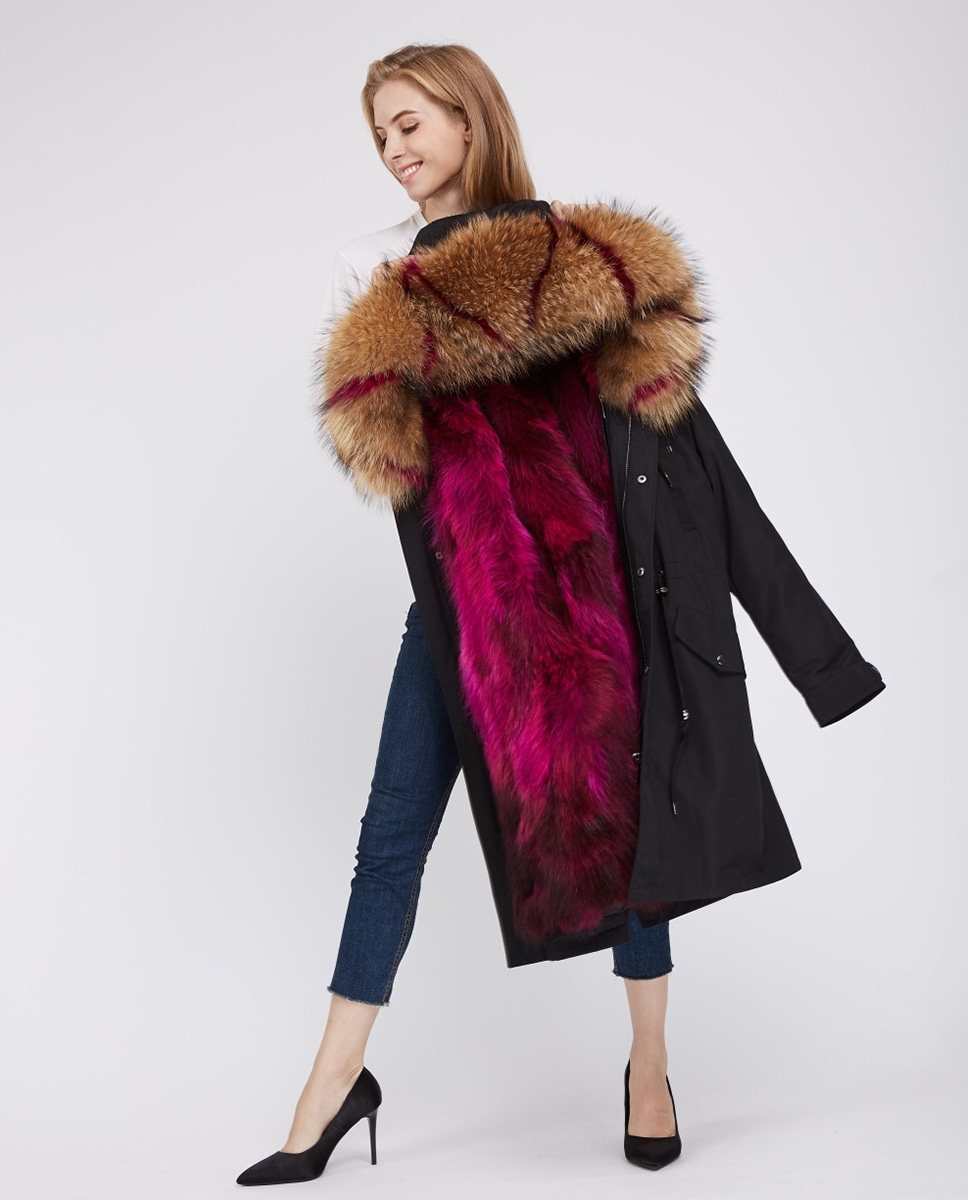 Raccoon Fur Trimmed Hooded Parka with Detachable Fox Fur Liner 242 red