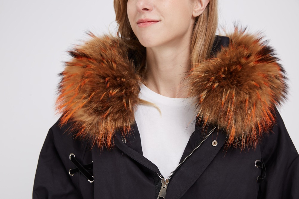 Raccoon Fur Trimmed Hooded Parka with Detachable Raccoon Fur Liner 244 Details 1