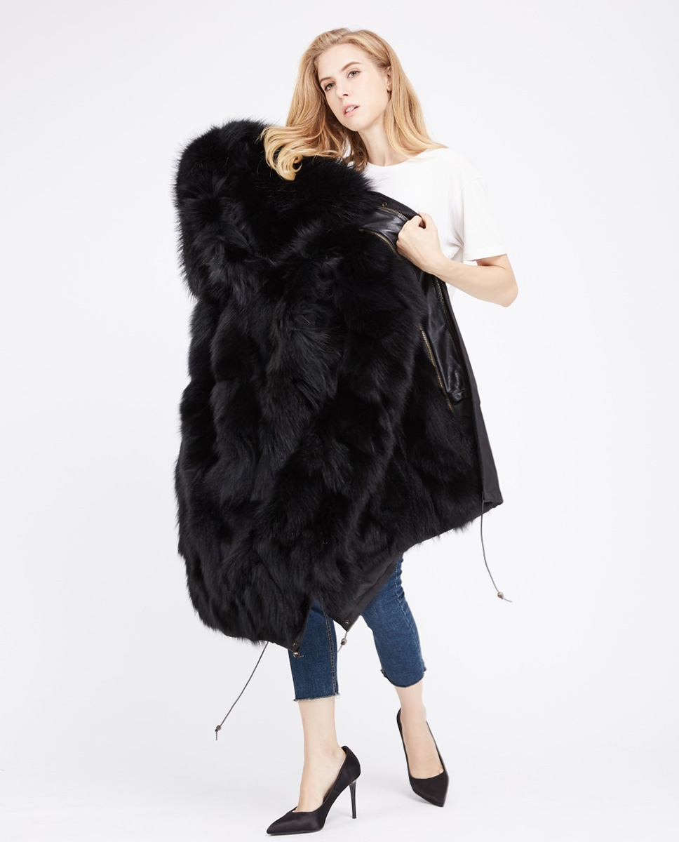 Fox Fur Lined Parka with Raccoon Fur Trimmed Hood 245 Black-Black