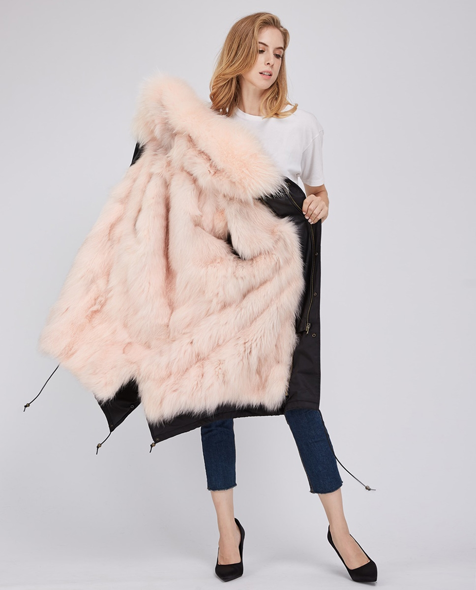 Fox Fur Lined Parka with Raccoon Fur Trimmed Hood 245 Black-Pink