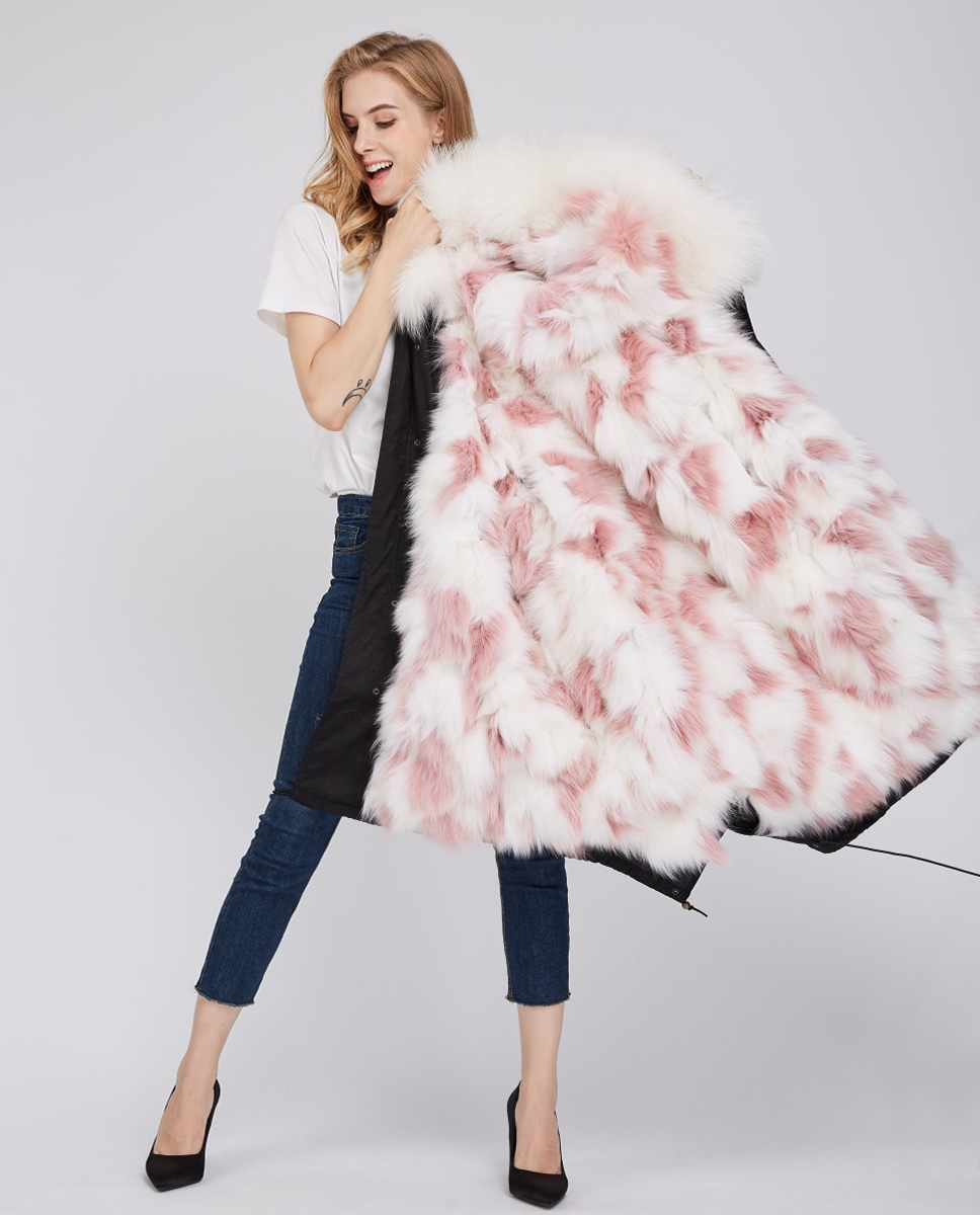 Fox Fur Lined Parka with Raccoon Fur Trimmed Hood 245 Black-White-Pink