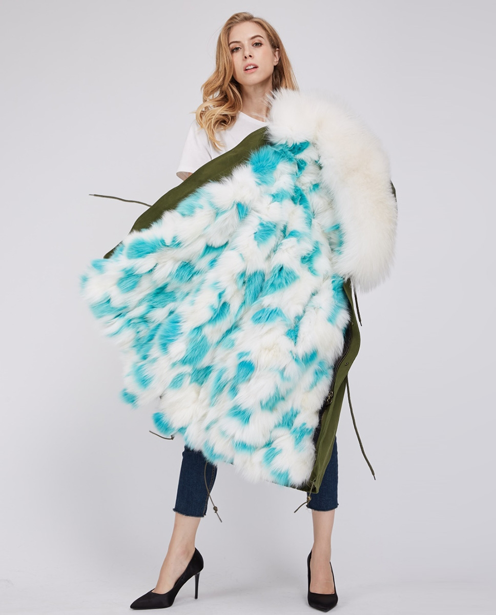 Fox Fur Lined Parka with Raccoon Fur Trimmed Hood 245 Green-White-Aqua