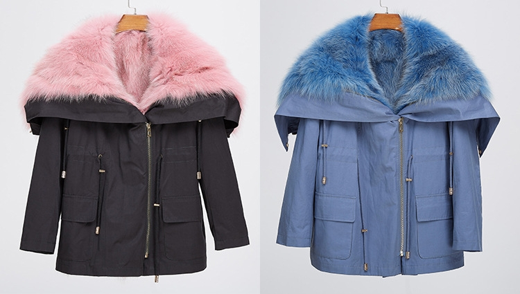 Detachable Fox Fur Lined Cropped Parka with Zipped Hood 246 Details 1