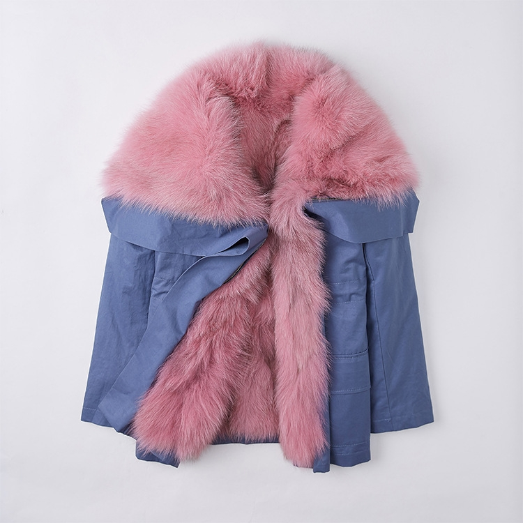 Detachable Fox Fur Lined Cropped Parka with Zipped Hood 246 Details 3