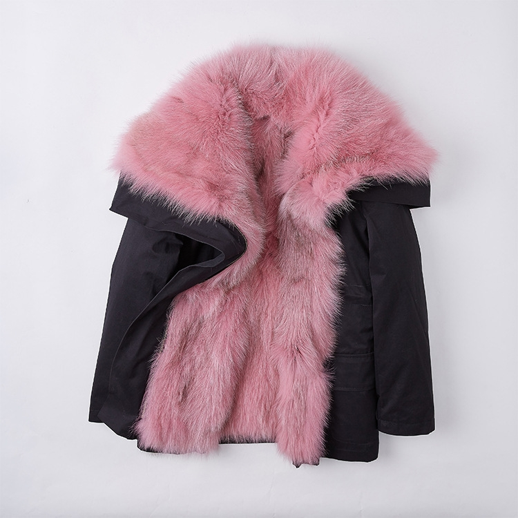 Detachable Fox Fur Lined Cropped Parka with Zipped Hood 246 Details 4