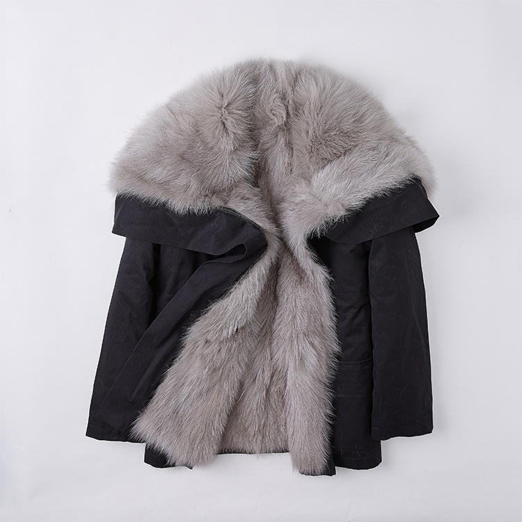Detachable Fox Fur Lined Cropped Parka with Zipped Hood 246 Details 5