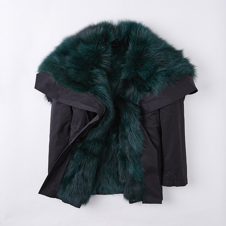 Detachable Fox Fur Lined Cropped Parka with Zipped Hood 246 Details 6