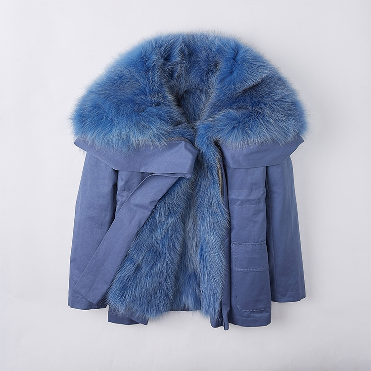 Detachable Fox Fur Lined Cropped Parka with Zipped Hood 246 Details 7