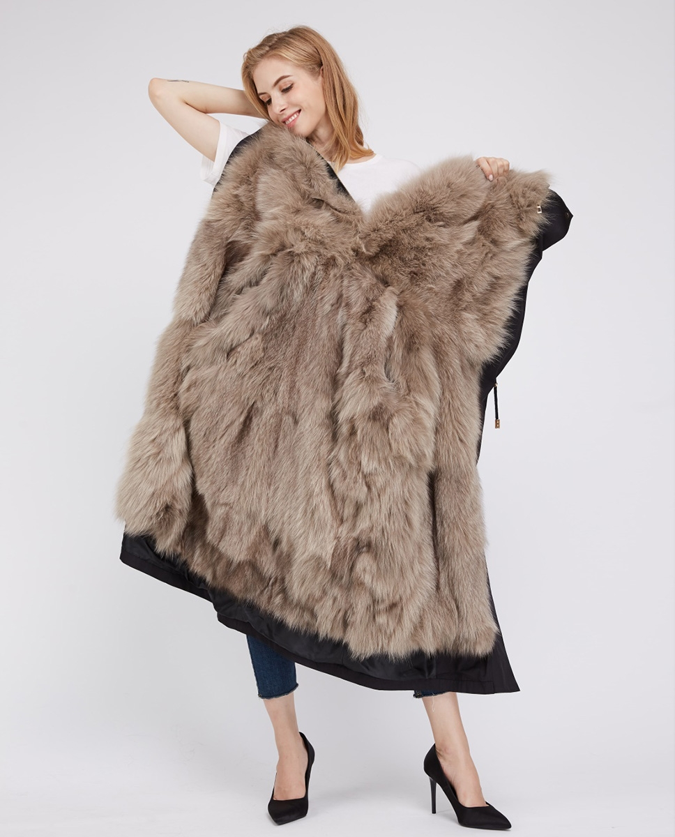 Detachable Fox Fur Lined Cropped Parka with Zipped Hood 247 Black-Gray