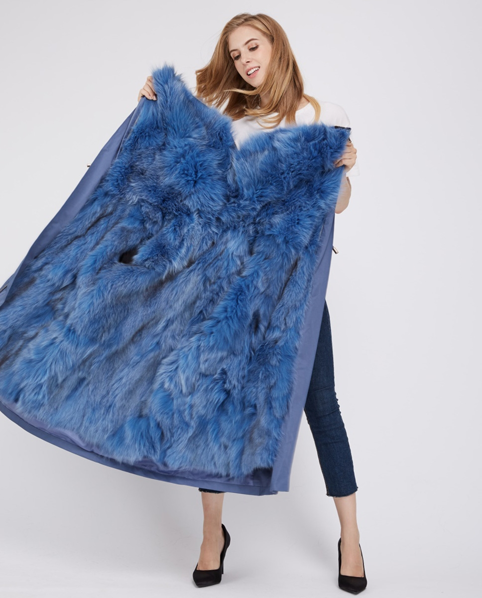 Detachable Fox Fur Lined Cropped Parka with Zipped Hood 247 Blue-Blue