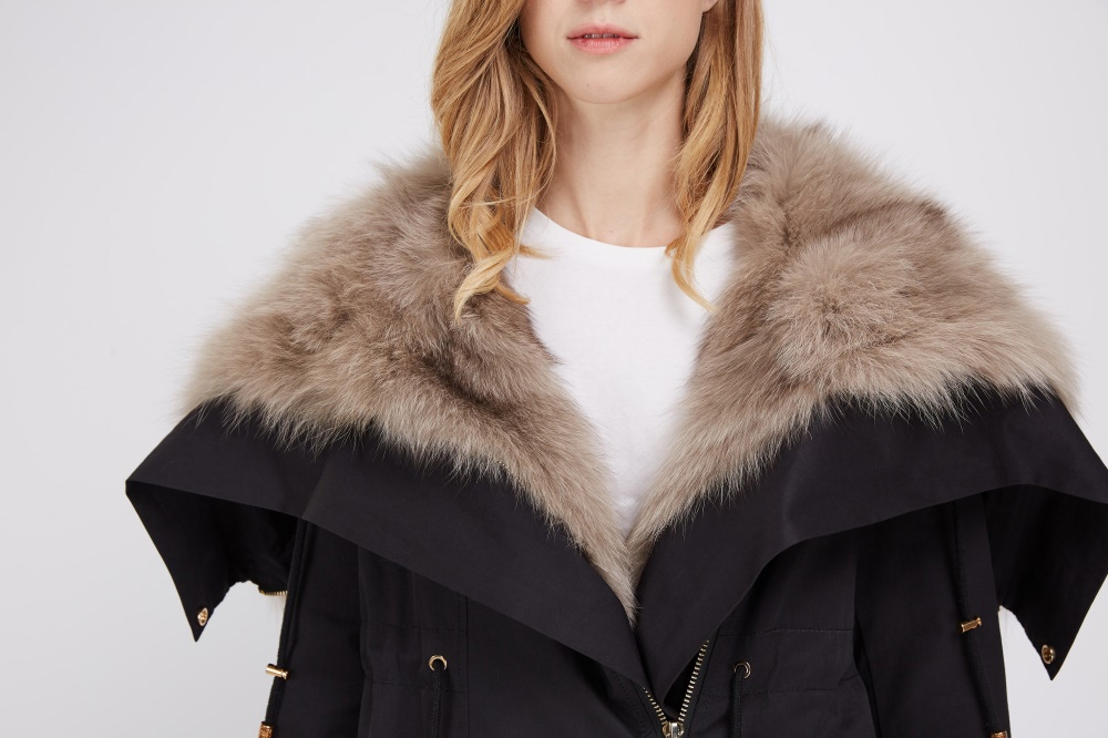 Detachable Fox Fur Lined Cropped Parka with Zipped Hood 247 Details 1