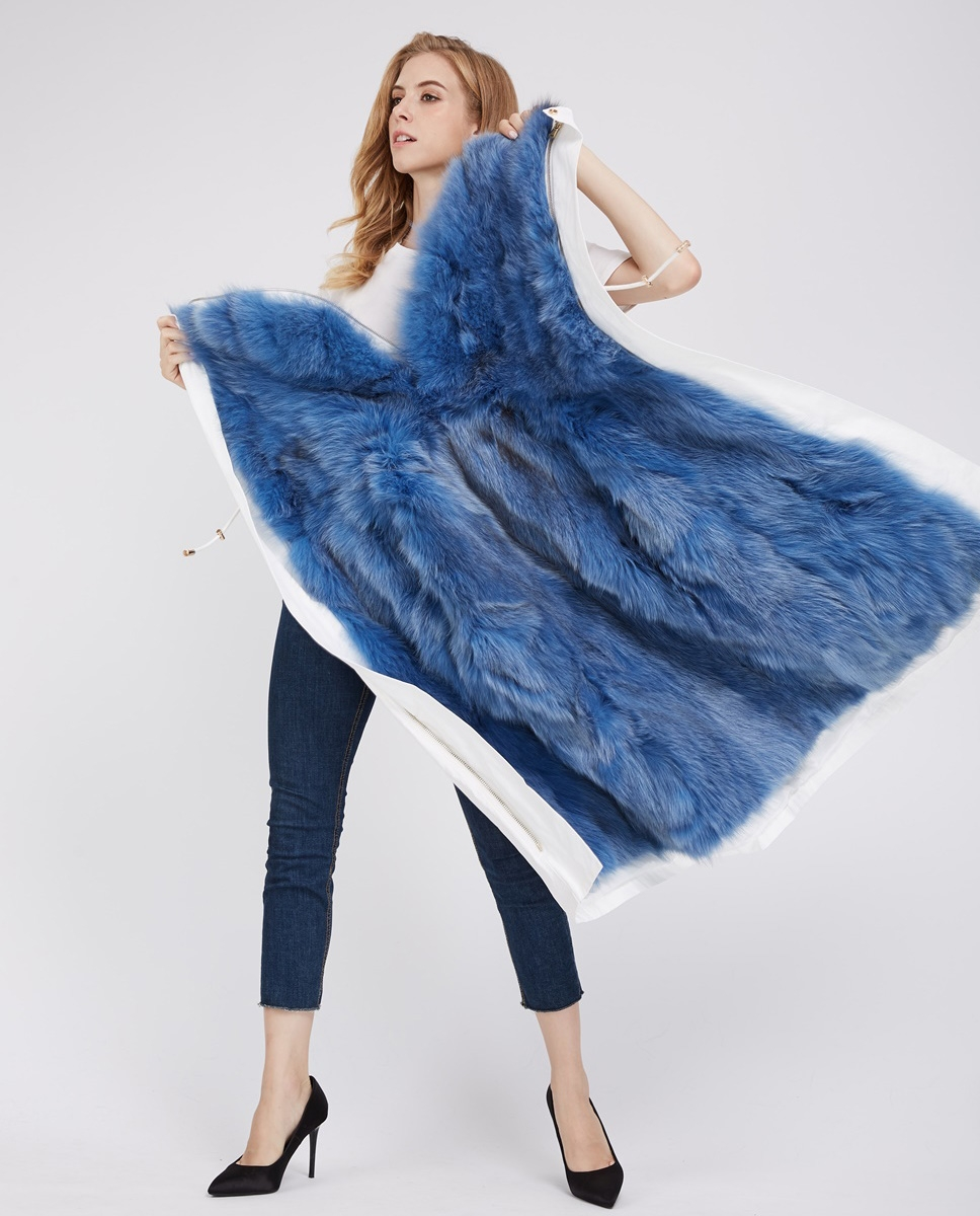 Detachable Fox Fur Lined Cropped Parka with Zipped Hood 247 White-Blue