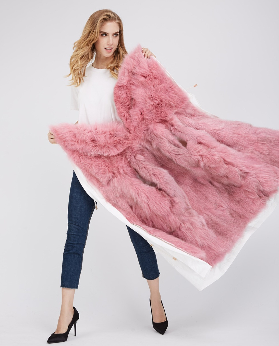 Detachable Fox Fur Lined Cropped Parka with Zipped Hood 247 White-Pink