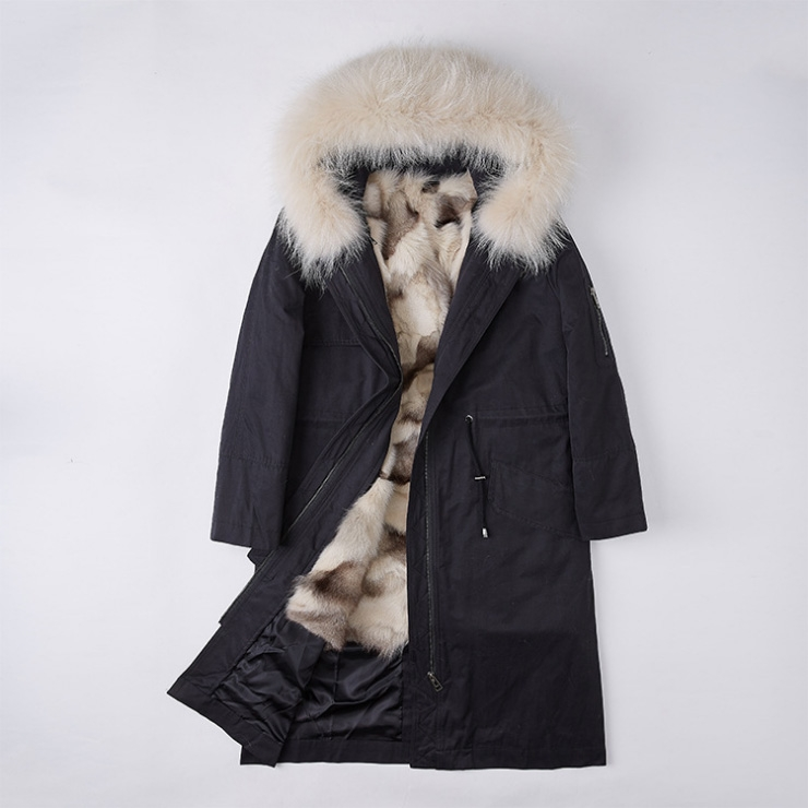 Detachable Fox Fur Lined Parka with Raccoon Fur Trimmed Hood 248 Black-Beige