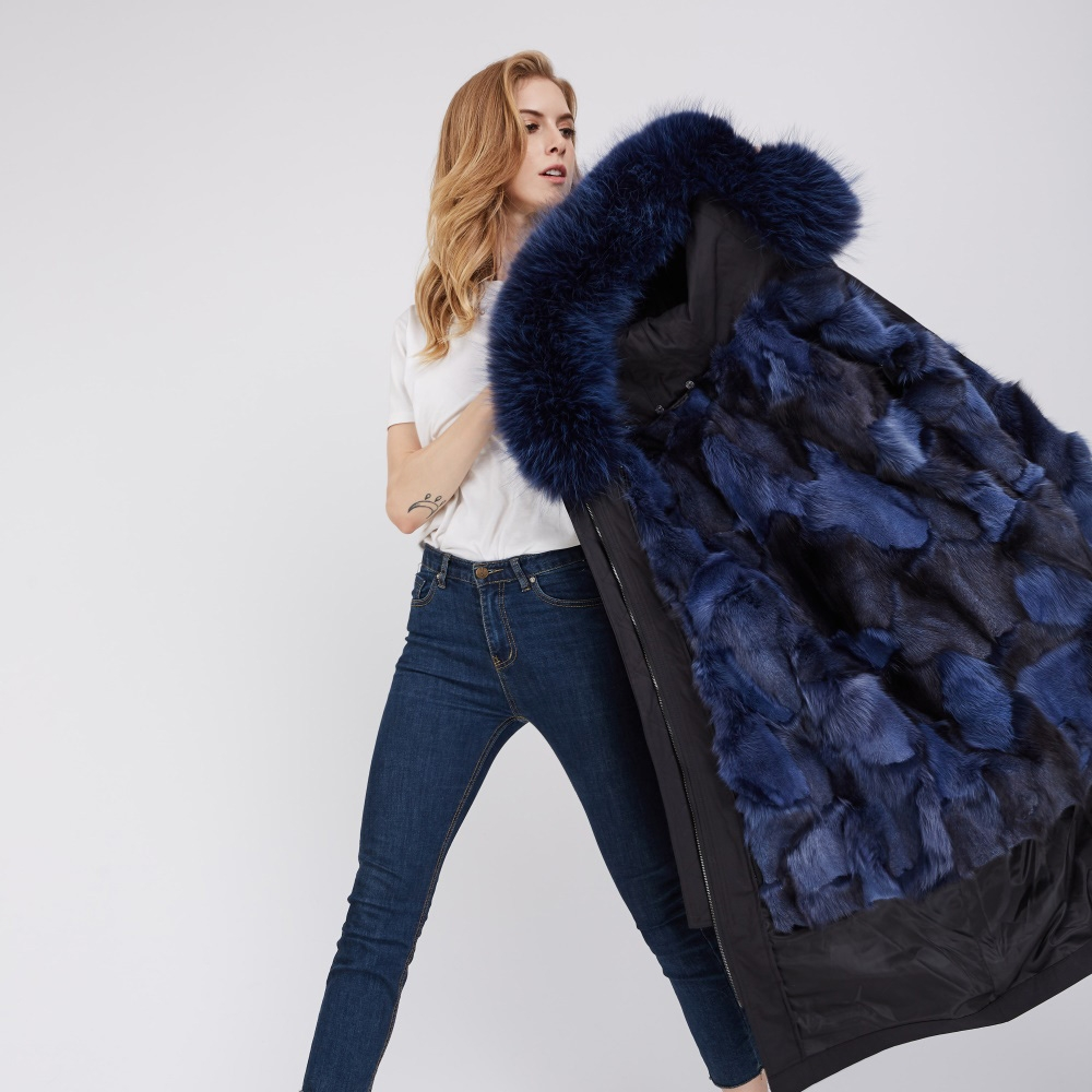 Detachable Fox Fur Lined Parka with Raccoon Fur Trimmed Hood 248 Black-Blue-2