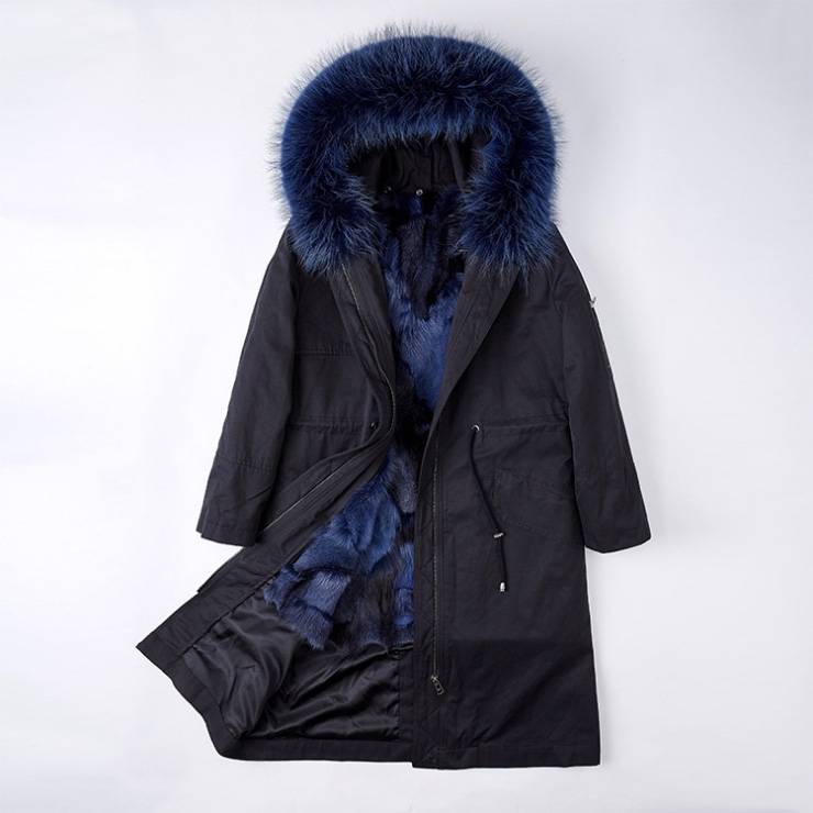 Detachable Fox Fur Lined Parka with Raccoon Fur Trimmed Hood 248 Black-Blue