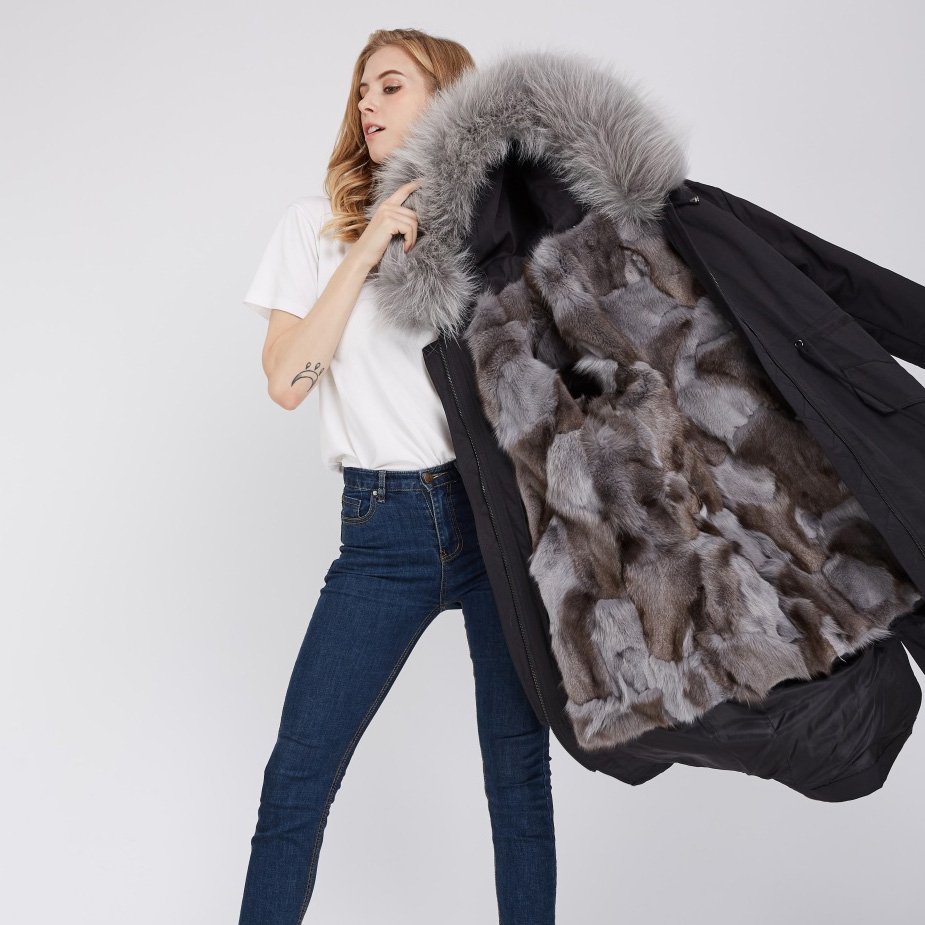 Detachable Fox Fur Lined Parka with Raccoon Fur Trimmed Hood 248 Black-Gray-2