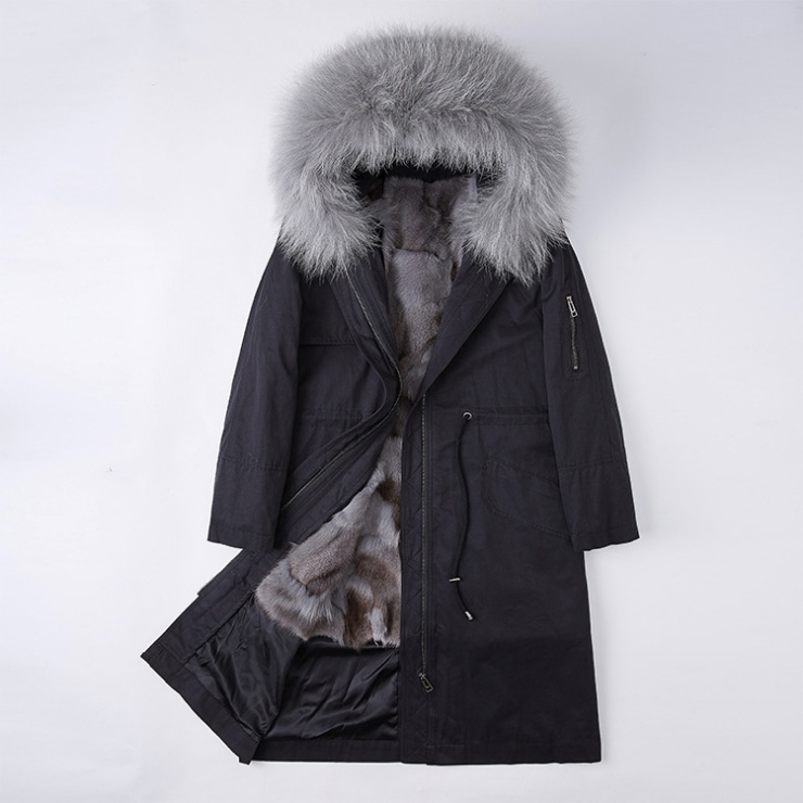 Detachable Fox Fur Lined Parka with Raccoon Fur Trimmed Hood 248 Black-Gray