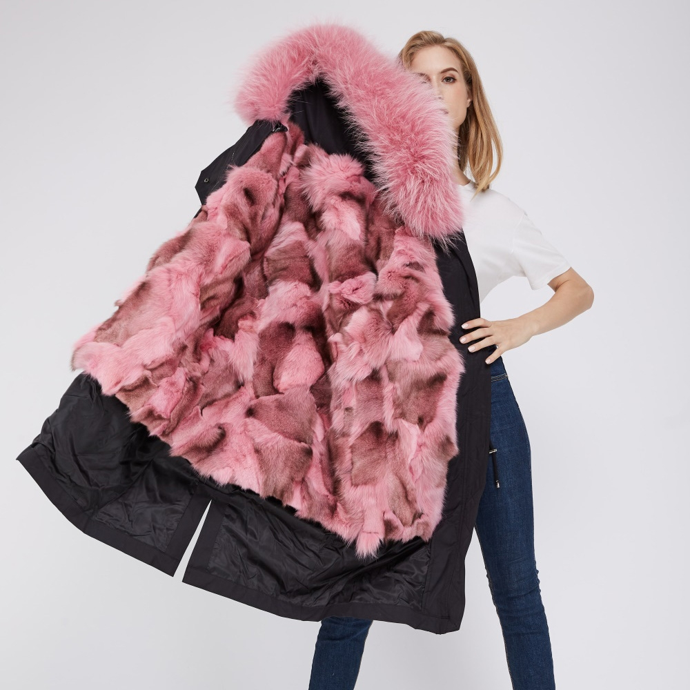 Detachable Fox Fur Lined Parka with Raccoon Fur Trimmed Hood 248 Black-Pink-2