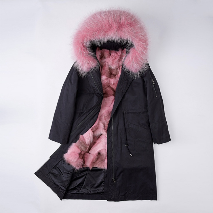 Detachable Fox Fur Lined Parka with Raccoon Fur Trimmed Hood 248 Black-Pink