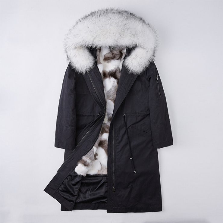 Detachable Fox Fur Lined Parka with Raccoon Fur Trimmed Hood 248 Black-White