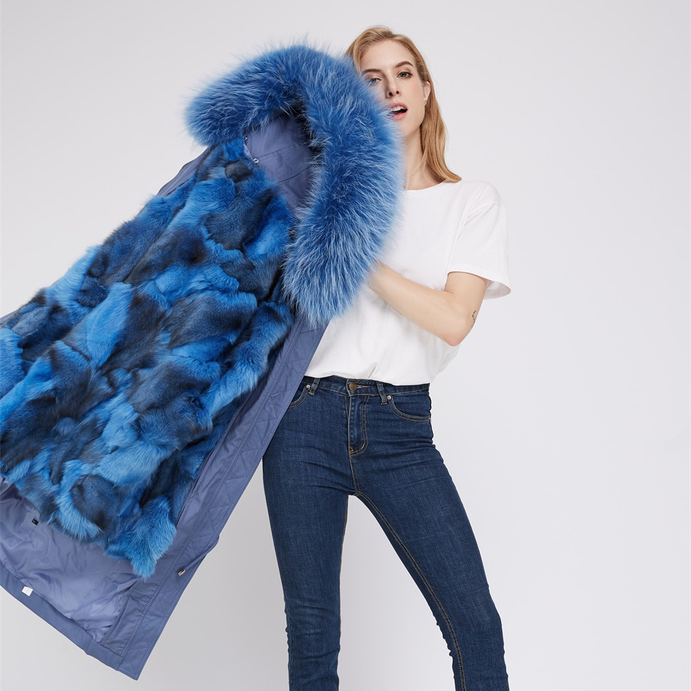 Detachable Fox Fur Lined Parka with Raccoon Fur Trimmed Hood 248 Blue-Blue-2