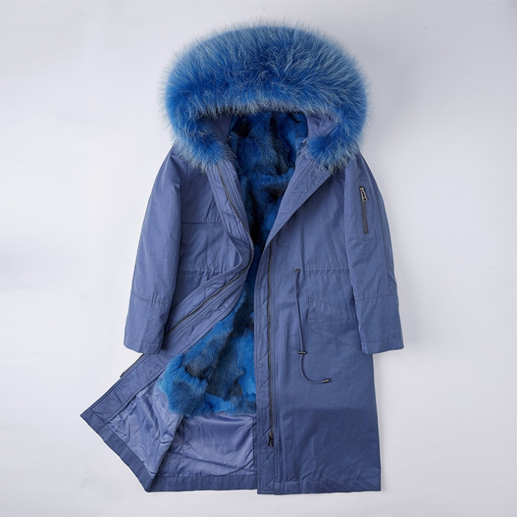 Detachable Fox Fur Lined Parka with Raccoon Fur Trimmed Hood 248 Blue-Blue