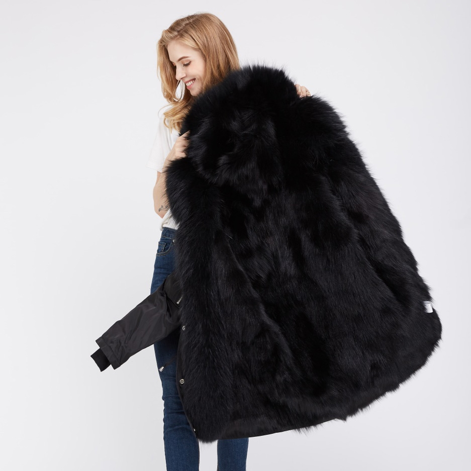 Detachable Fox Fur Lined Hooded Down-filled Parka with Raccoon Fur Trim 249 Black-Black-2