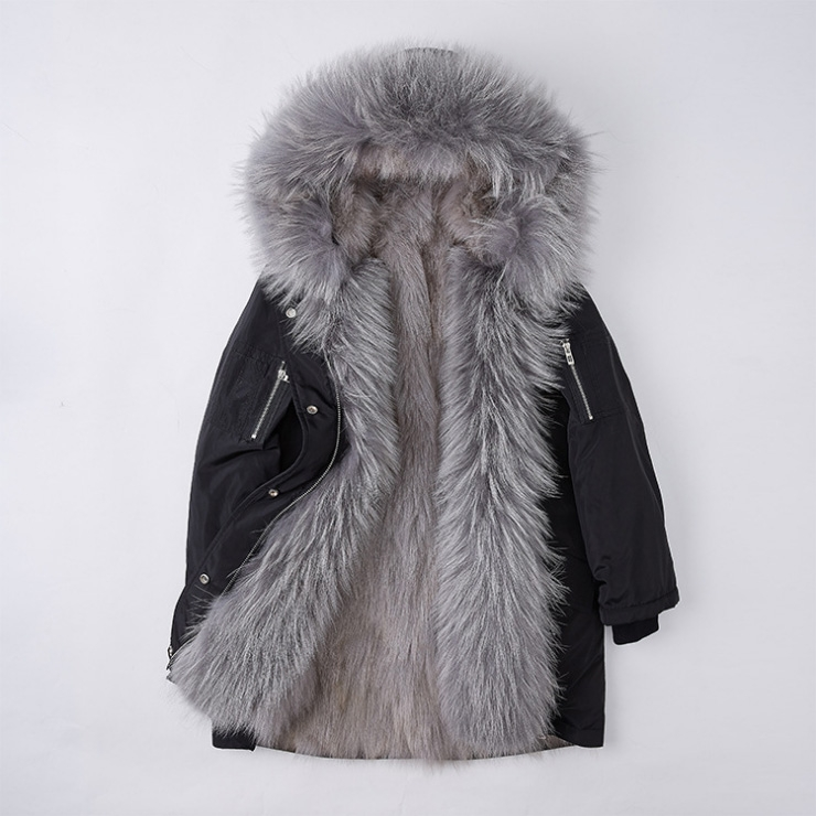 Detachable Fox Fur Lined Hooded Down-filled Parka with Raccoon Fur Trim 249 Black-Gray-1