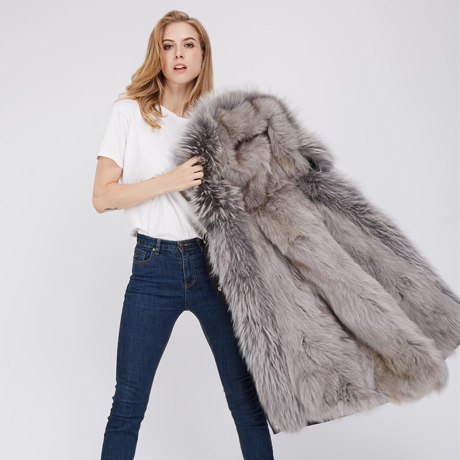 Detachable Fox Fur Lined Hooded Down-filled Parka with Raccoon Fur Trim 249 Black-Gray-2
