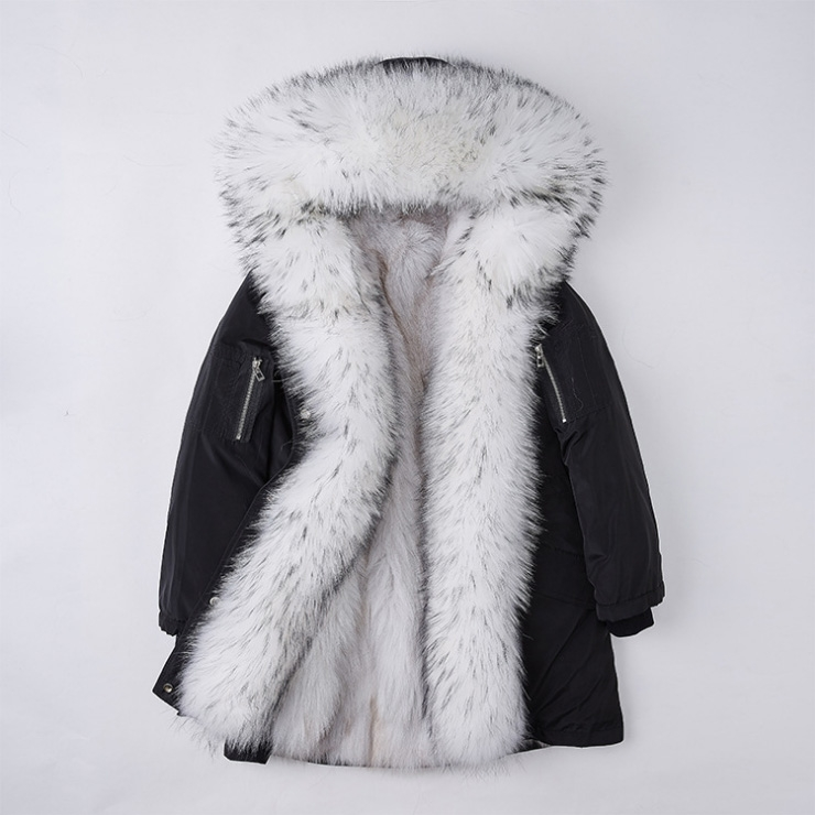 Detachable Fox Fur Lined Hooded Down-filled Parka with Raccoon Fur Trim 249 Black-White-1