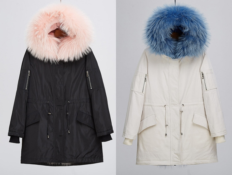 Detachable Fox Fur Lined Hooded Down-filled Parka with Raccoon Fur Trim 249 Details 0