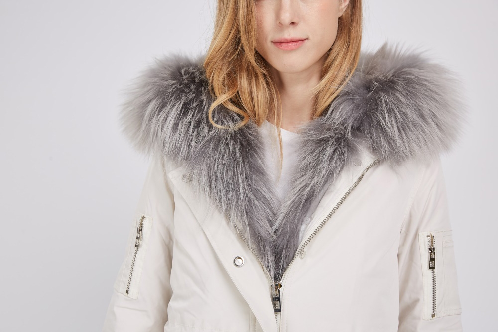 Detachable Fox Fur Lined Hooded Down-filled Parka with Raccoon Fur Trim 249 Details 1
