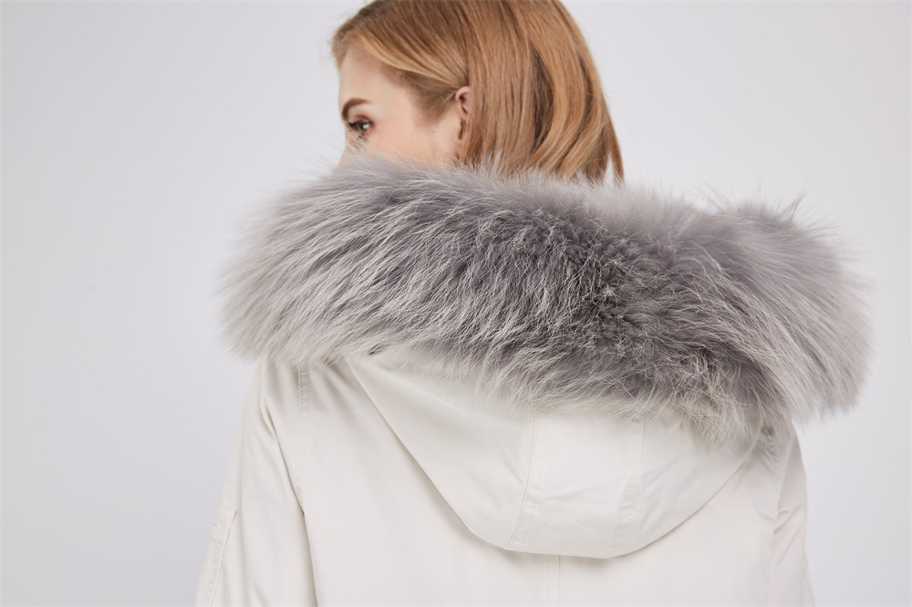 Detachable Fox Fur Lined Hooded Down-filled Parka with Raccoon Fur Trim 249 Details 2