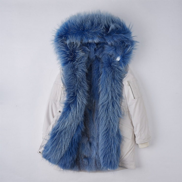 Detachable Fox Fur Lined Hooded Down-filled Parka with Raccoon Fur Trim 249 White-Blue-1