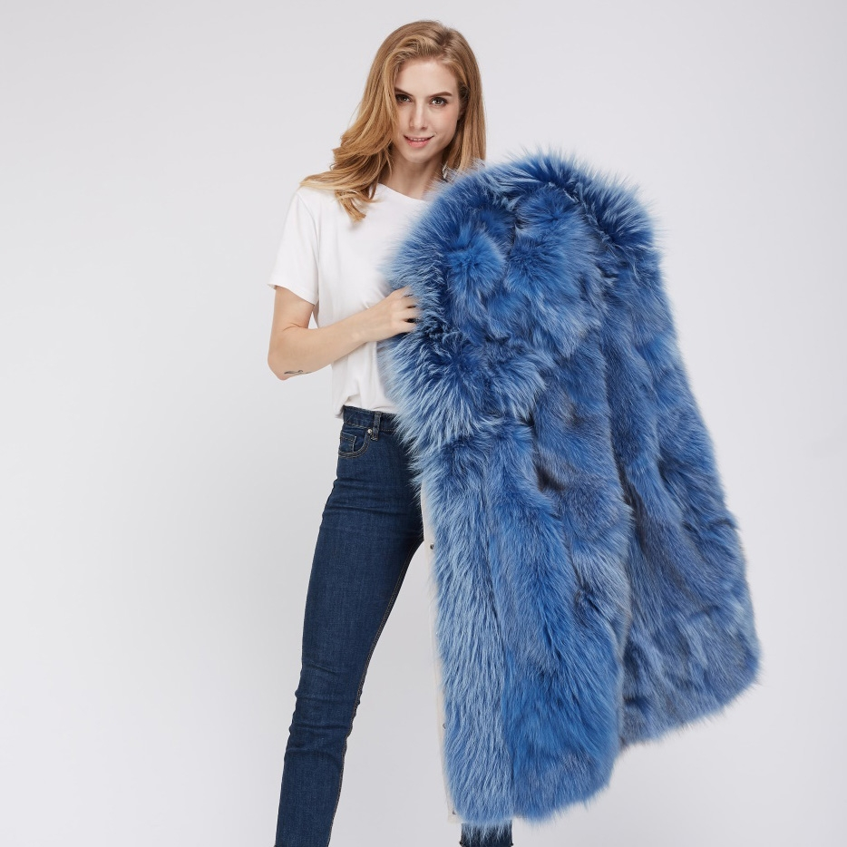 Detachable Fox Fur Lined Hooded Down-filled Parka with Raccoon Fur Trim 249 White-Blue-2