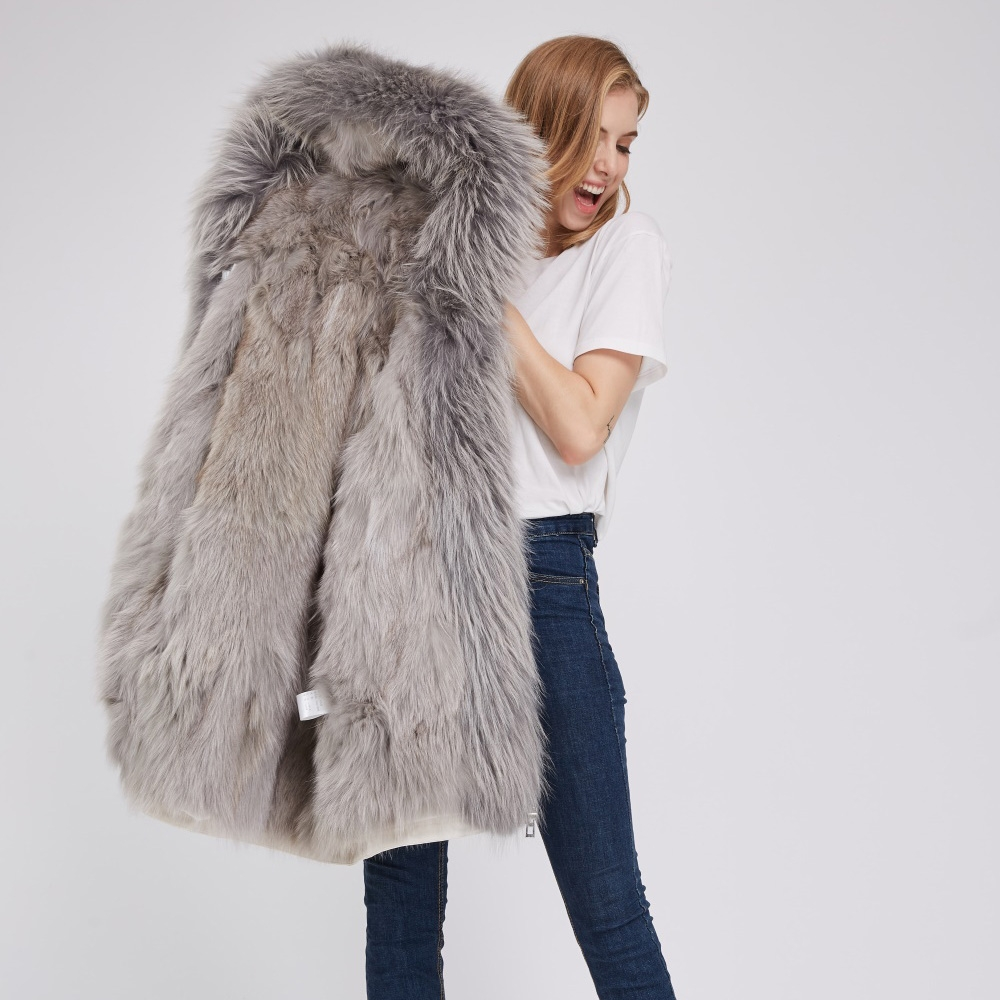 Detachable Fox Fur Lined Hooded Down-filled Parka with Raccoon Fur Trim 249 White-Gray