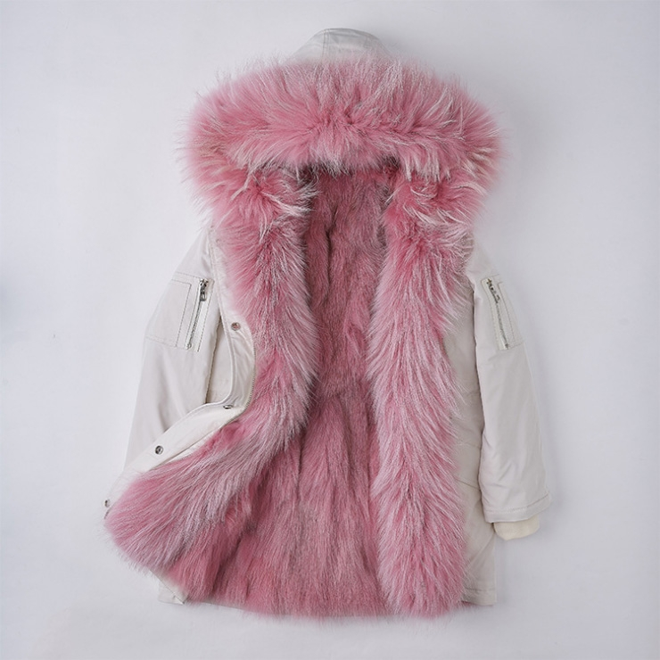 Detachable Fox Fur Lined Hooded Down-filled Parka with Raccoon Fur Trim 249 White-Pink-1